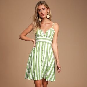 Green & White Striped Dress